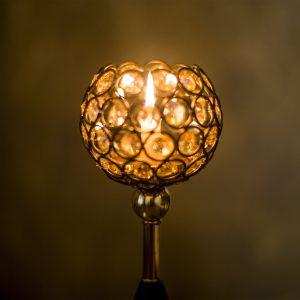 Golden crystal tealight holder