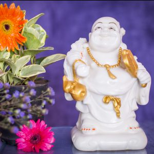Laughing Buddha holding fan & Wo Lu