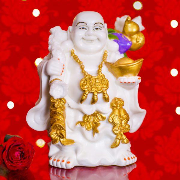 Laughing Buddha with money bag & ingot