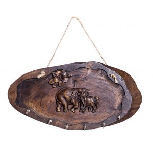 Wooden Elephant Key Ring