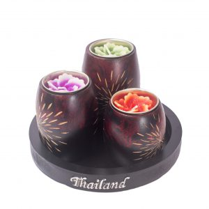Add a touch of Thai culture to your house with this three piece handcraved Wooden Candle Holders.