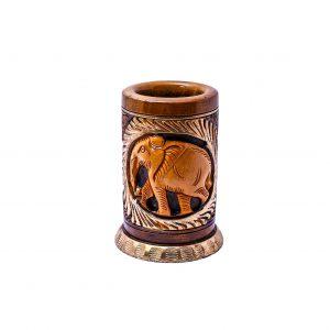 Elephant carved pen holder