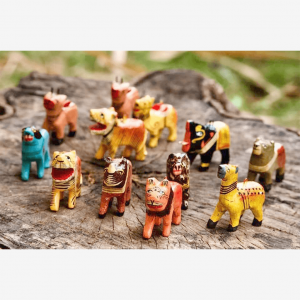 Set of 12 different wooden animals