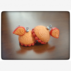 Polymerclay orange red jhumka