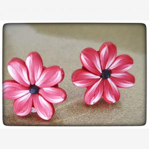 Ploymerclay red & white flower