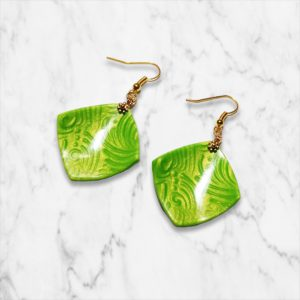 Green glam square earring
