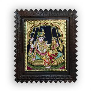 Radha Krishna on jhula painting