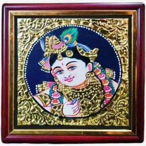 krishna tanjore gold foil painting