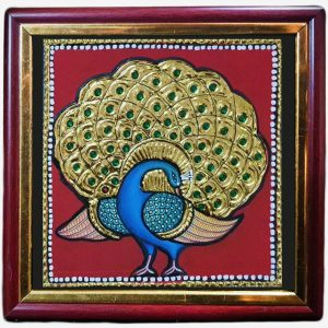 Tanjore Peacock Feather gold foil painting
