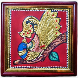 Peacock on Tree Tanjore gold foil Painting