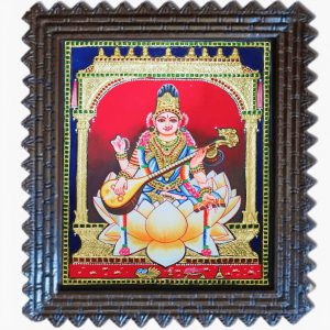 Tanjore Gold foil Sraswati painting
