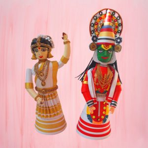Paper quilling kathakali and mohiniattam dancers