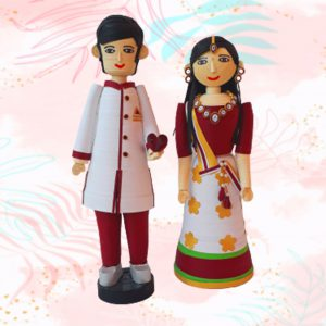 Paper quilling bride and groom set